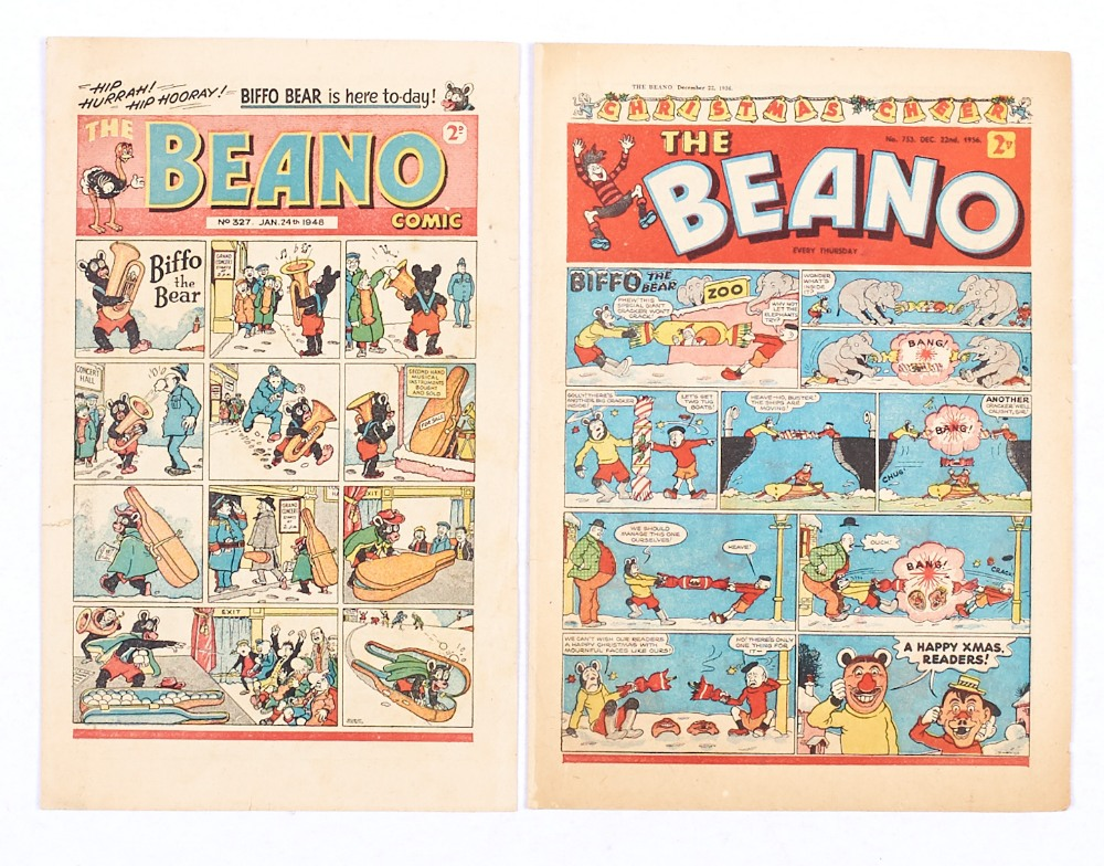 Lot 52 - Beano 327 (1948) First appearance of Biffo the Bear by Dudley Watkins with No 753 Xmas (1956) [vg/
