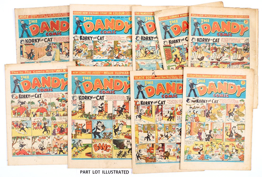 Lot 50 - Dandy (1944) 257-282 Xmas. Complete year of fortnightly propaganda war issues. First Black Bob by