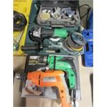 (3) Drills, Grinder, Pneumatic Grinder