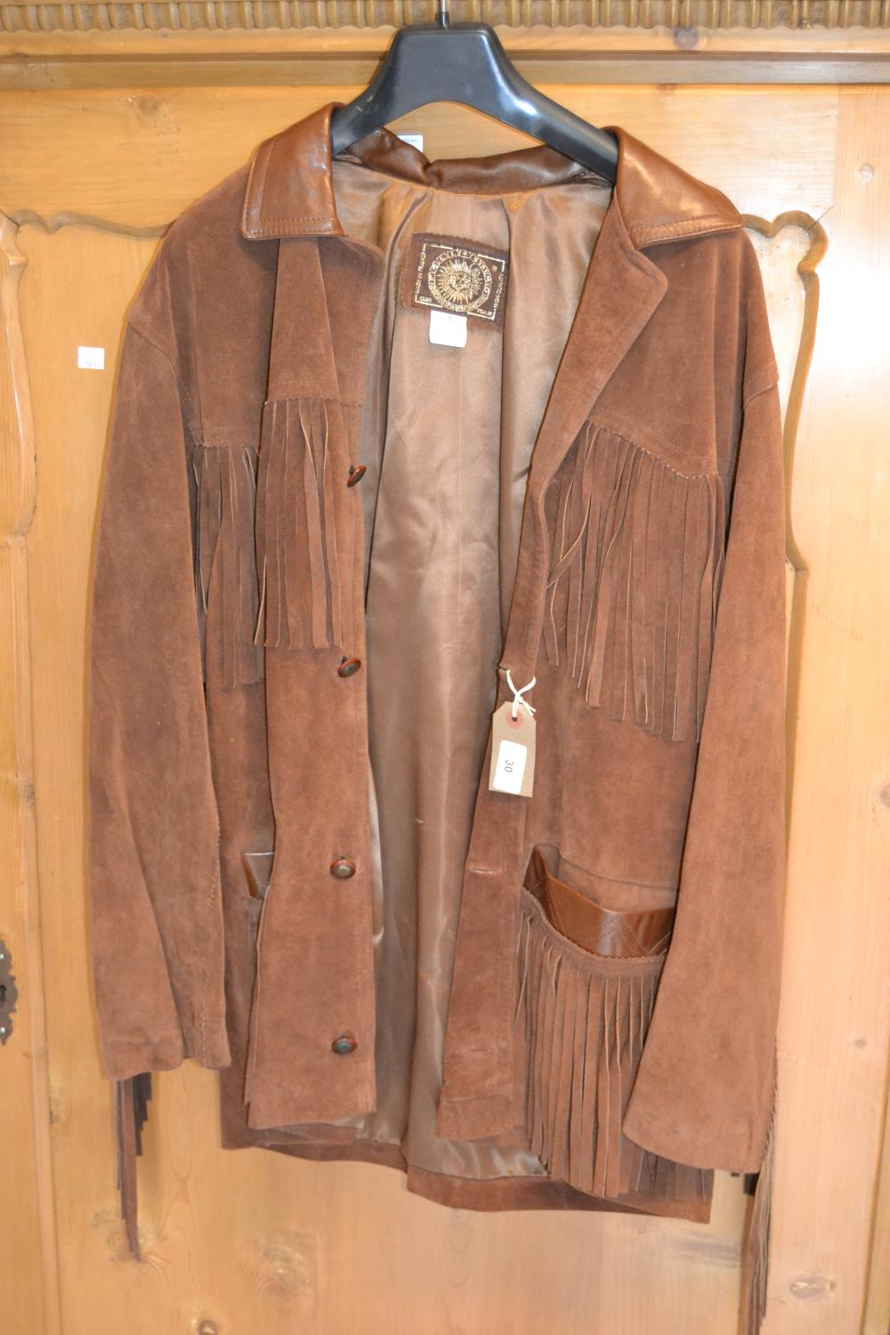 Lot 30 - Ladies brown leather and suede jacket, together with a ladies black jacket