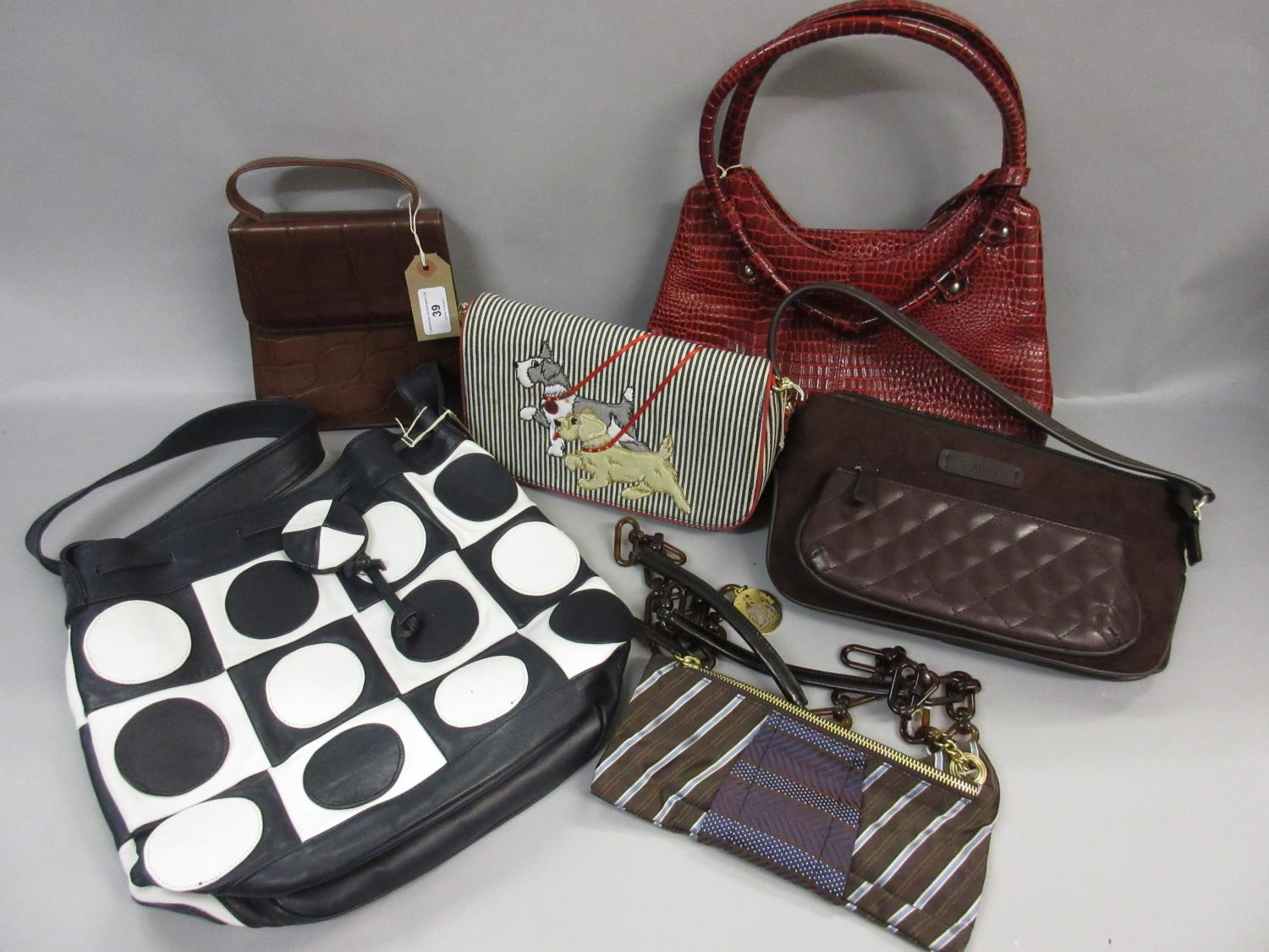 Lot 39 - Small Osprey brown leather handbag, Lulu Guinness blue and white striped canvas bag with dog