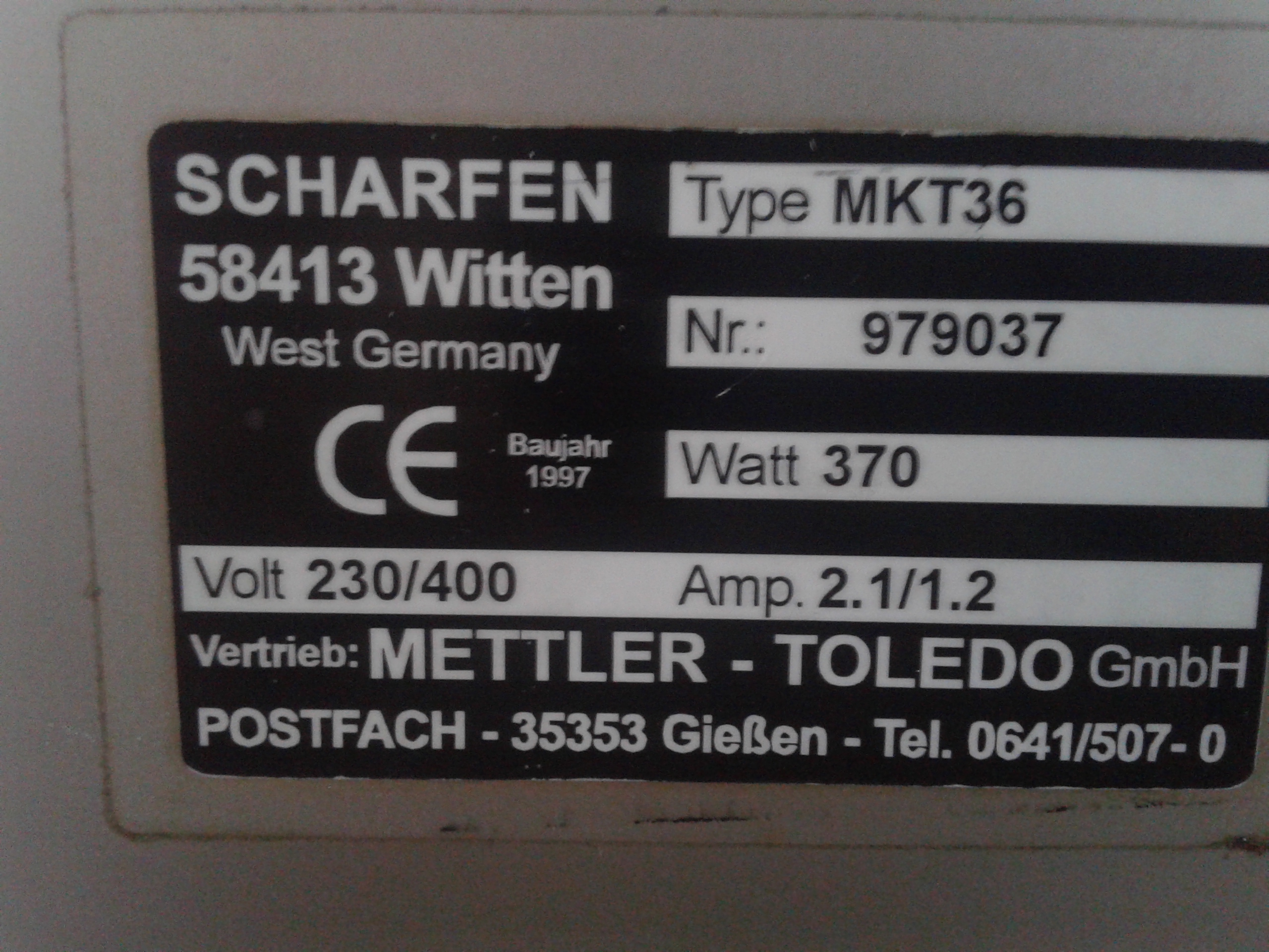 Lot 26 - Mettler Toledo Cheese Portioning Cutter, Type MKT36, S/N 979037, with Control Panel and Safety Guar