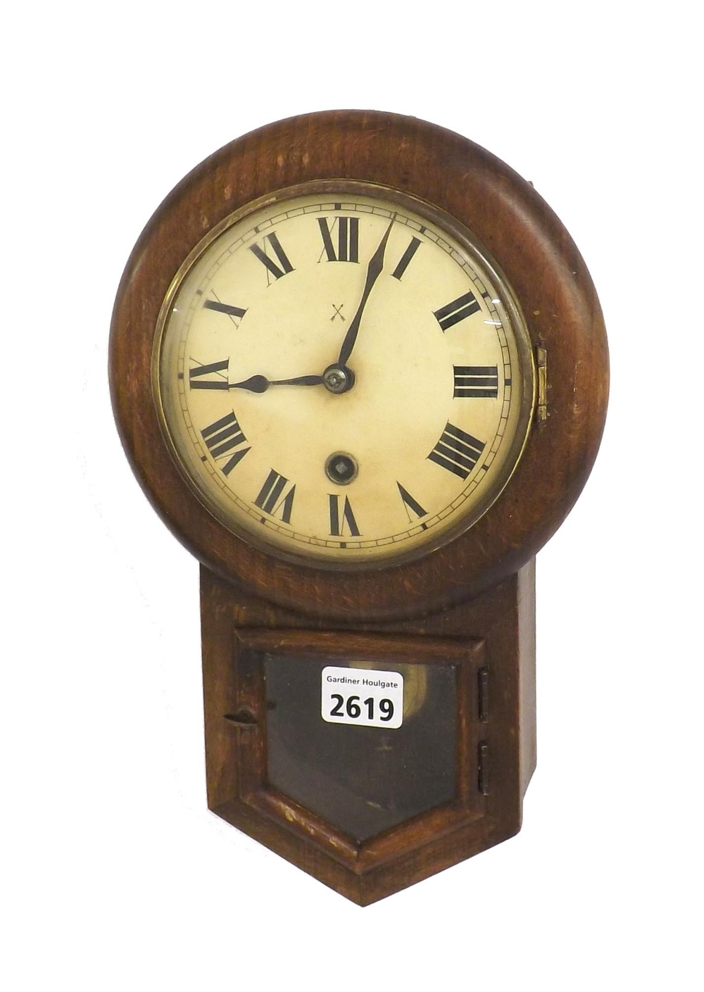 Small oak hac 5 drop dial wall clock within a turned surround lot 2619 small oak hac 5 drop dial wall clock within a turned amipublicfo Choice Image