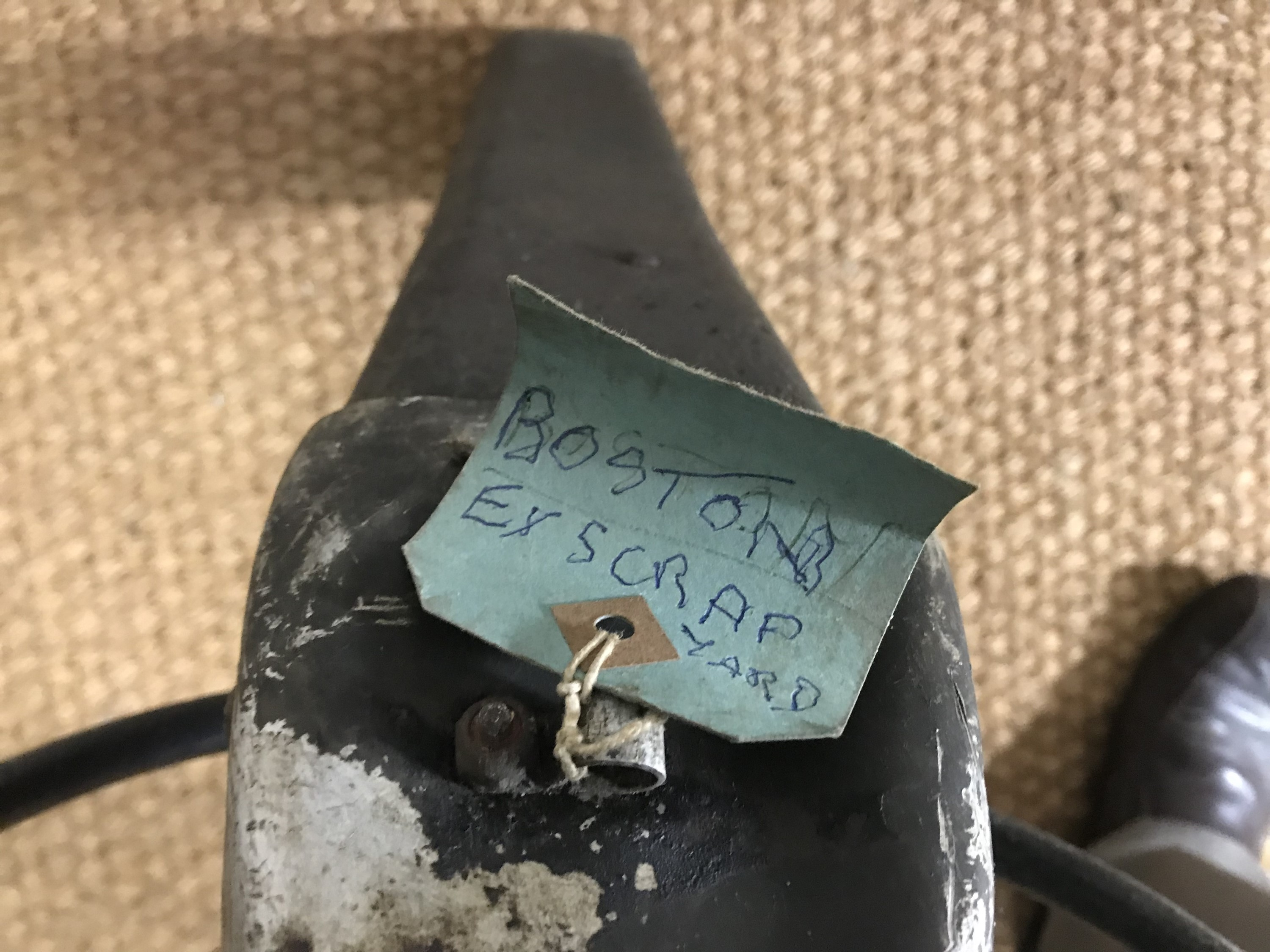 Lot 689 - An aircraft control column and wheel with label suggesting it could be that of a Boston aircraft