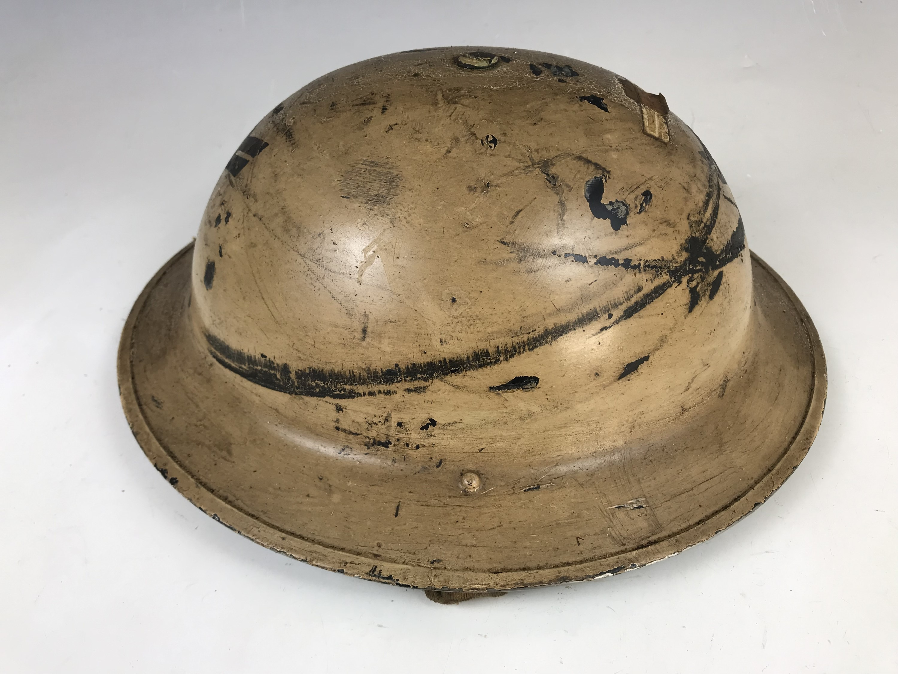 Lot 326 - A Second World War Civil Defence steel helmet bearing rank and A / CC insignia