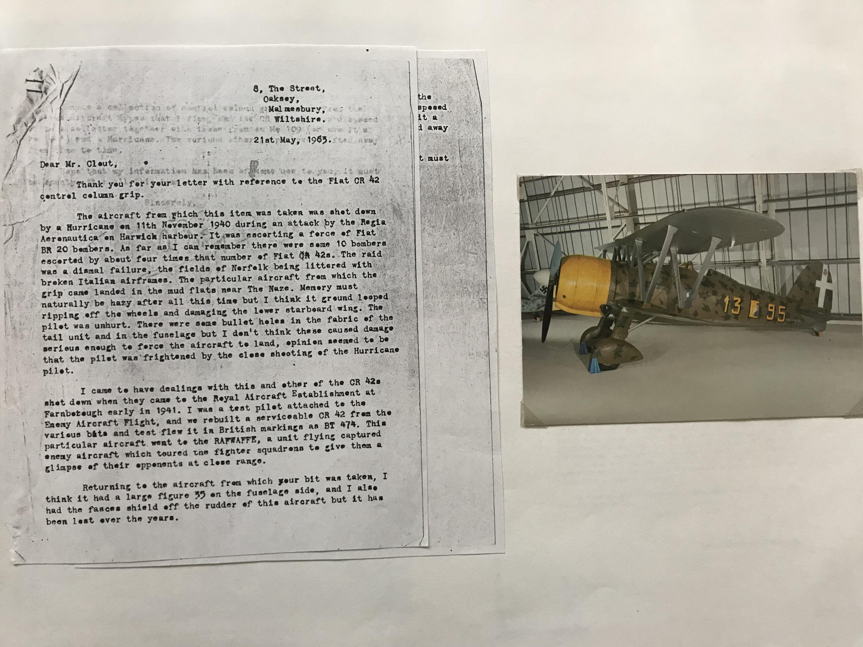 Lot 681 - A control column joy stick from an Italian Regia Aeronautica aircraft, marked Tipo L, M 5833, CR 42.