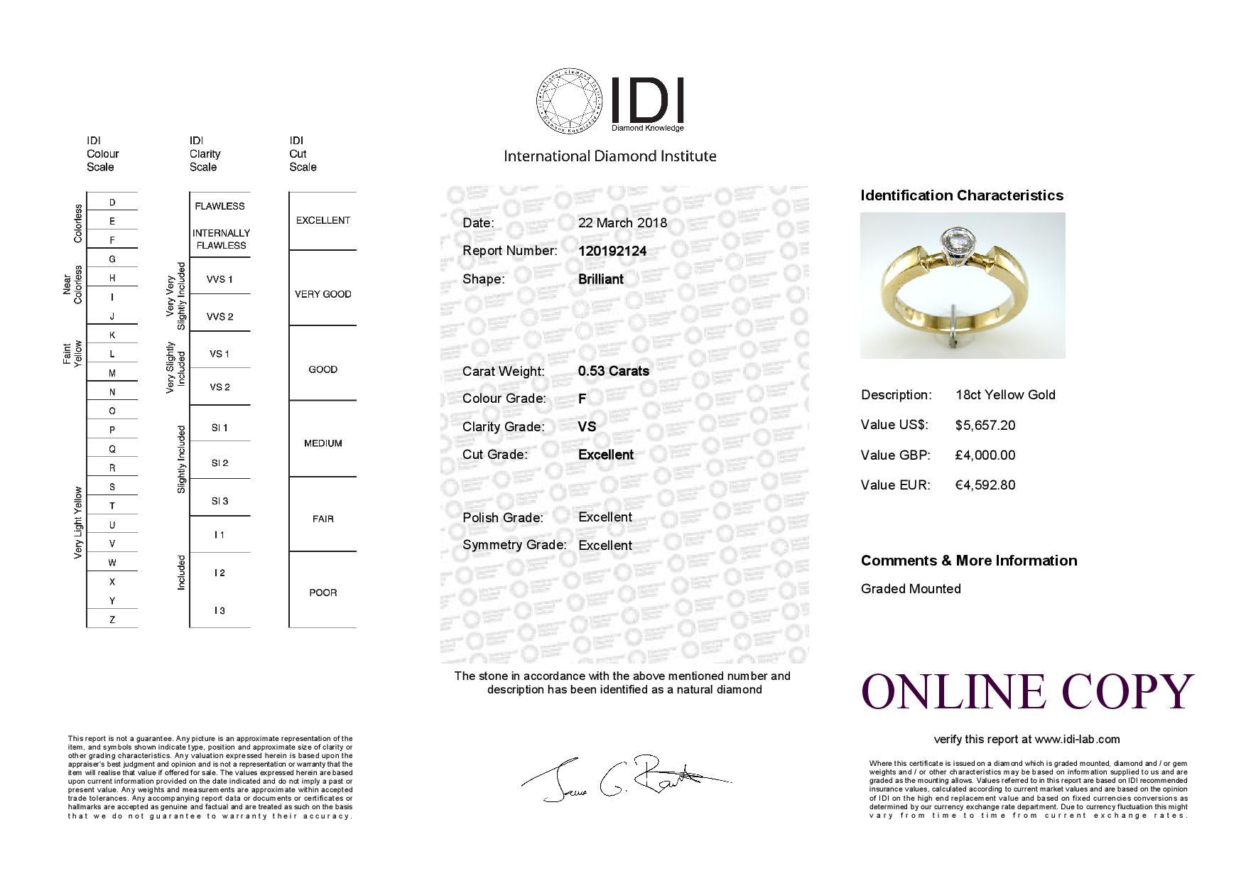 18ct Rub Over Set Diamond Ring 0.53 Carats - Image 5 of 5