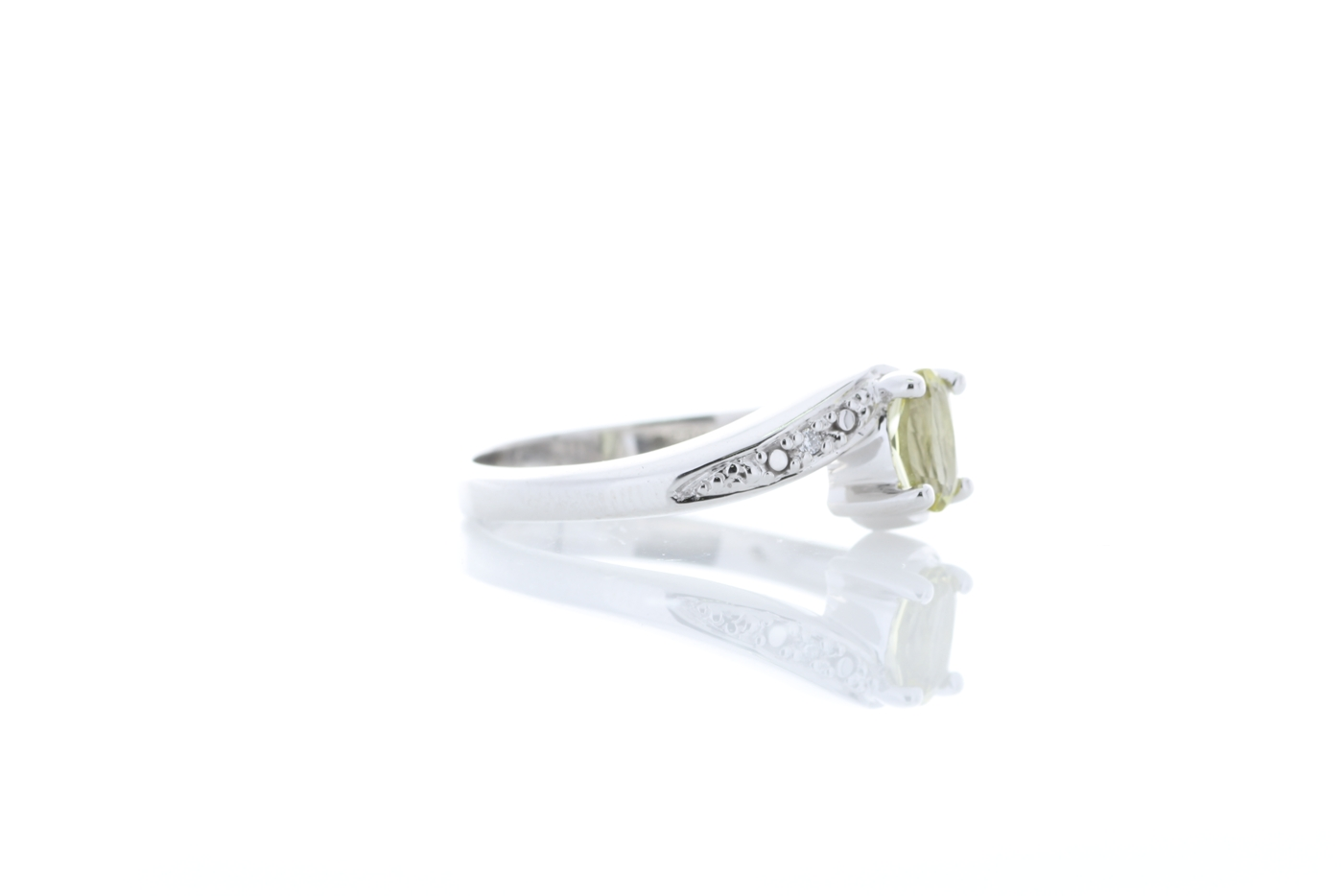 9ct White Gold Diamond And Lemon Quartz Ring - Image 4 of 8