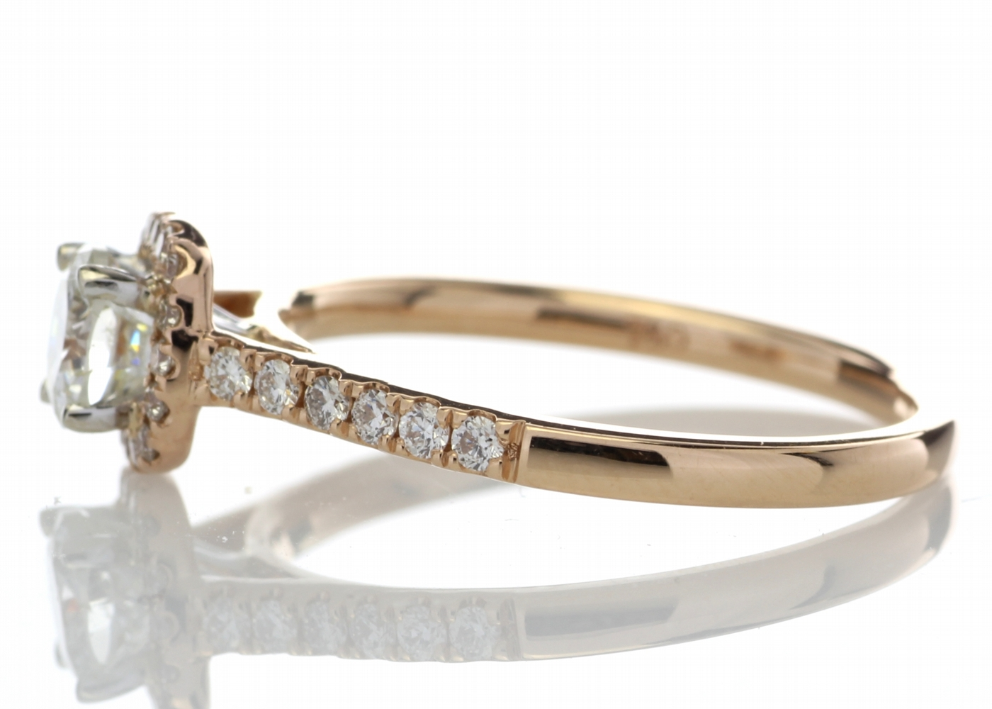 18ct Rose Gold Halo Set Ring 0.74 Carats - Image 3 of 4