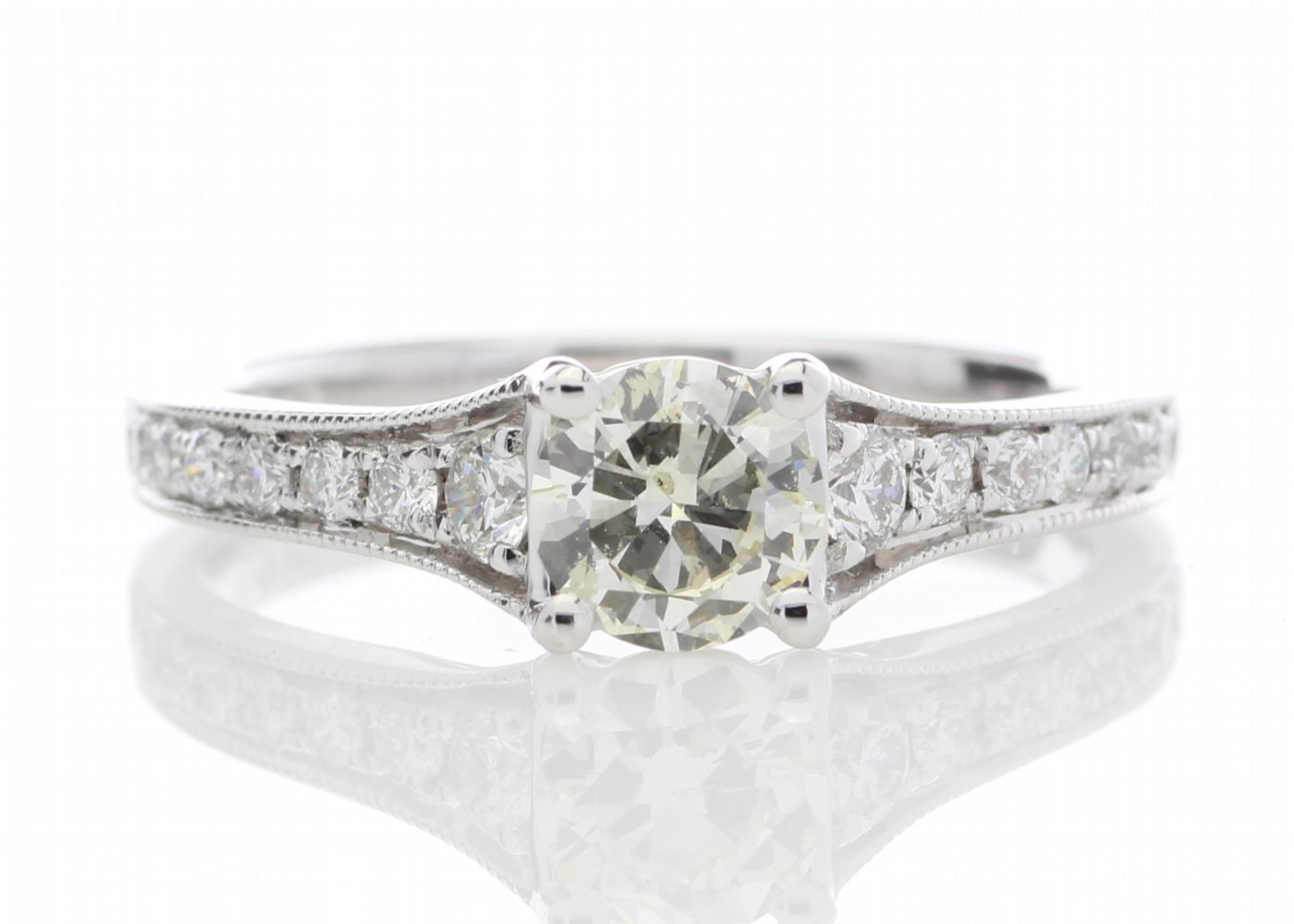 18ct White Gold Diamond Ring With Stone Set Shoulders 0.80 Carats