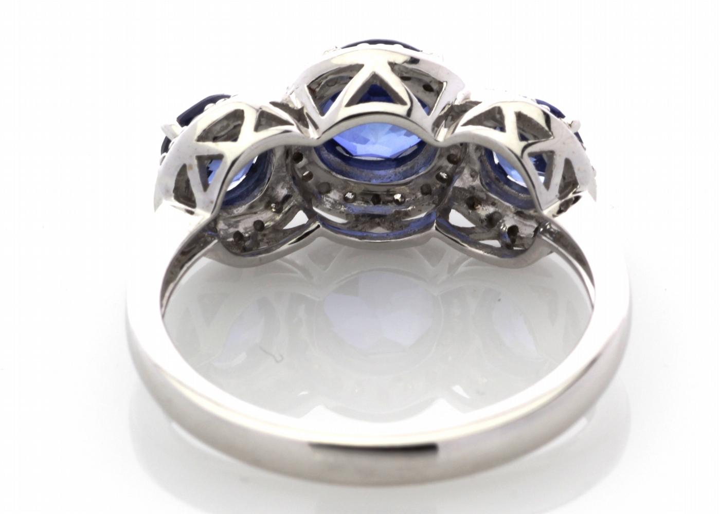 9ct White Gold Created Ceylon Sapphire And Diamond Ring - Image 5 of 6