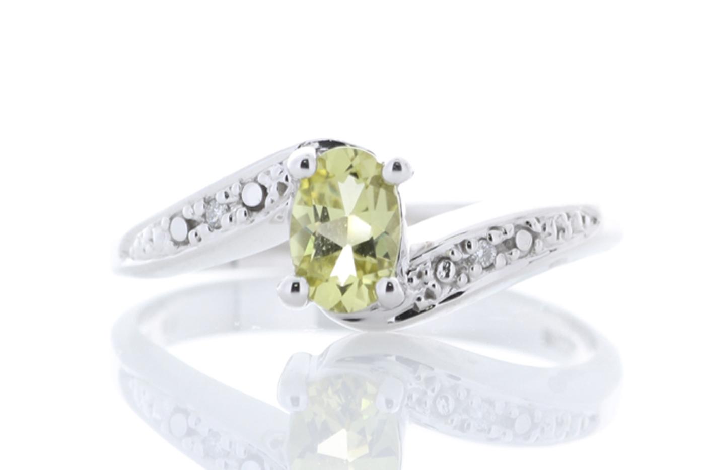 9ct White Gold Diamond And Lemon Quartz Ring