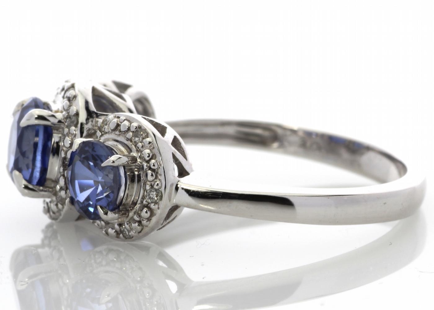 9ct White Gold Created Ceylon Sapphire And Diamond Ring - Image 4 of 6