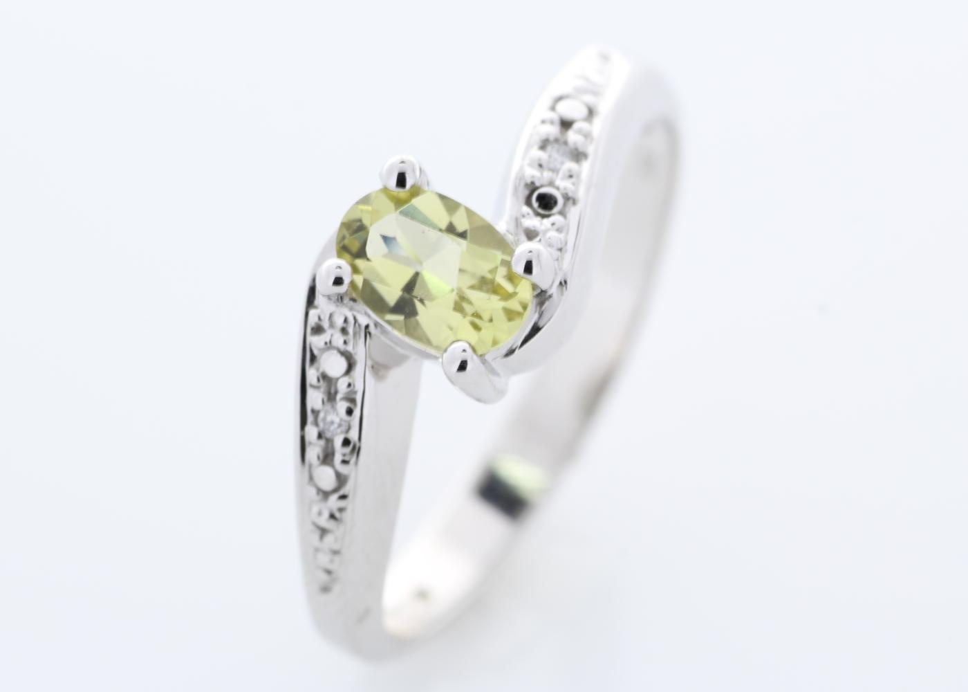 9ct White Gold Diamond And Lemon Quartz Ring - Image 6 of 8