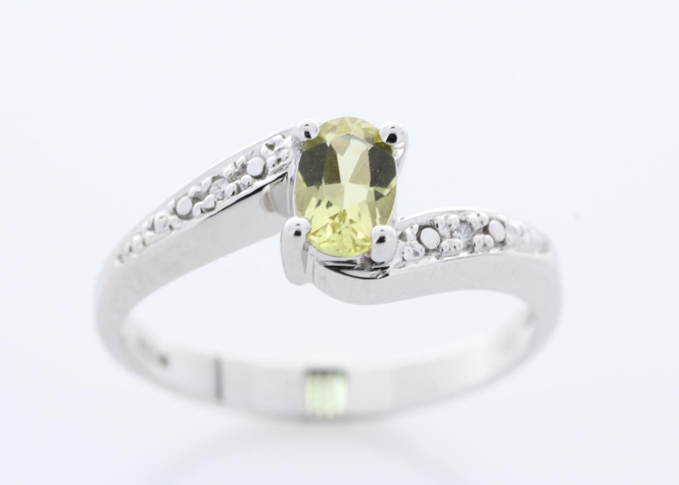 9ct White Gold Diamond And Lemon Quartz Ring - Image 5 of 8