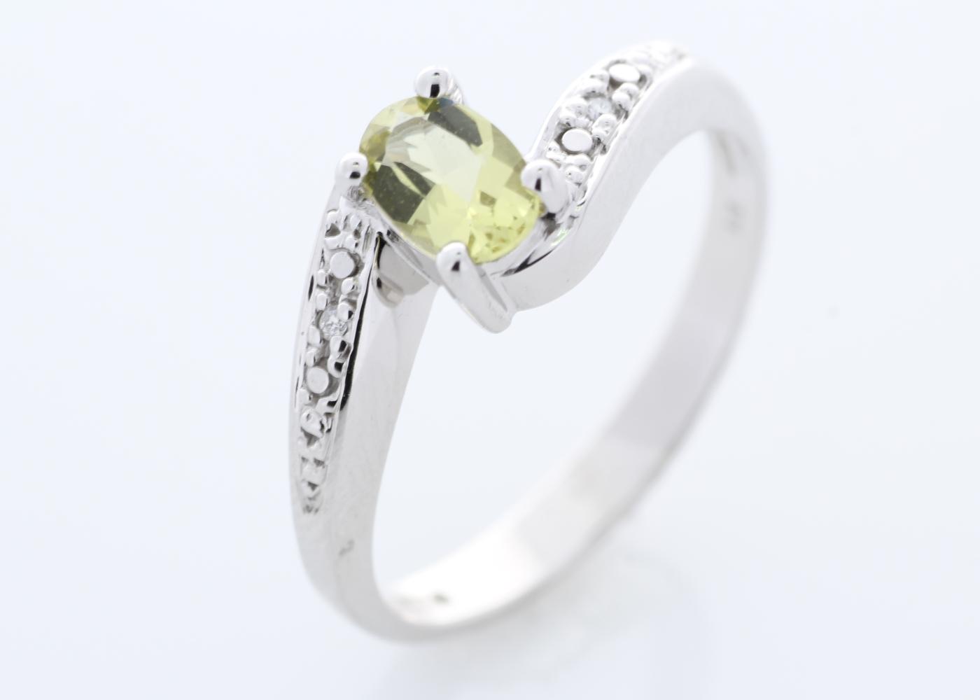 9ct White Gold Diamond And Lemon Quartz Ring - Image 7 of 8