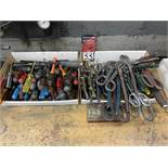 Lot Comprising Assorted Nut Drivers, Screw Drivers, Channel Locks and Sheet Metal Snips