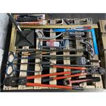 Lot Comprising Assorted Bolt Cutters, Hack Saws, T-Squares and Pry Bars