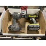 "Lot Comprising RYOBI P271 1/2"" Cordless Drill and DEWALT Cordless Drill"