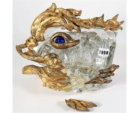A Baccarat crystal  sculpture for Chaumet depicting a stylised fish, circa. 1972, with gilt metal and hardstone mounts, 20cm