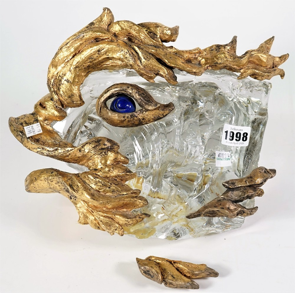 A Baccarat crystal sculpture for Chaumet depicting a stylised fish, circa.