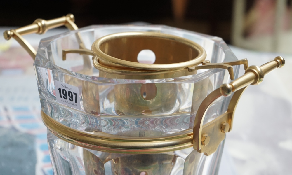A Baccarat crystal champagne bucket of octagonal tapering form with gilt metal mounts, 23. - Image 4 of 5