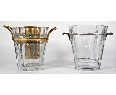 A Baccarat crystal champagne bucket of octagonal tapering form with gilt metal mounts, 23.5cm high and one further similar cr