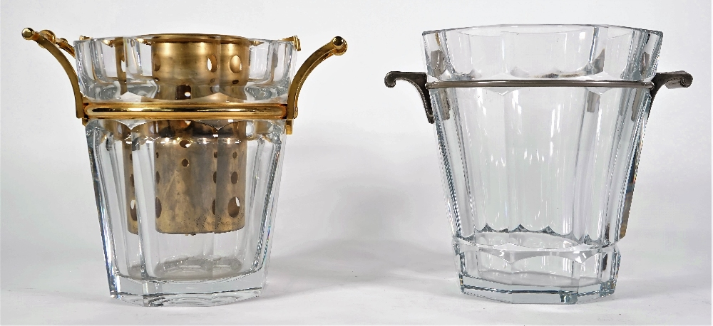 A Baccarat crystal champagne bucket of octagonal tapering form with gilt metal mounts, 23.
