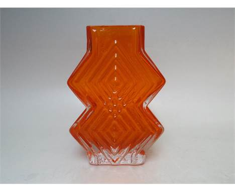 A WHITEFRIARS TANGERINE DOUBLE DIAMOND GLASS VASE, pattern 9759, designed by Geoffrey Baxter  as part of the Textured Range 1