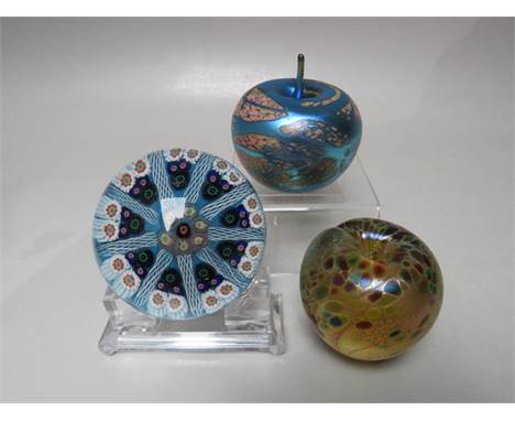 A STRATHEARN MILLEFIORI AND LATTICINO NINE CANE GLASS PAPERWEIGHT, original label to base, Dia. 7.5 cm, together with an Okra