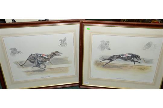 Pair of framed limited edition greyhound racing prints no..7/850 ...