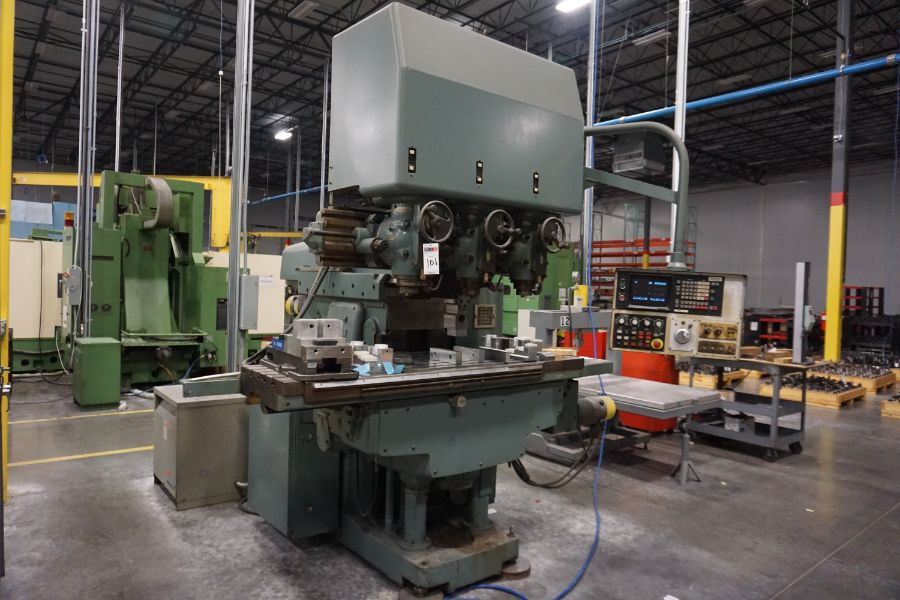 """Makino Three D, 3 Spindle VMC, Fanuc GN6 Series Control, 20"""" x 72"""" Table - Image 5 of 11"""