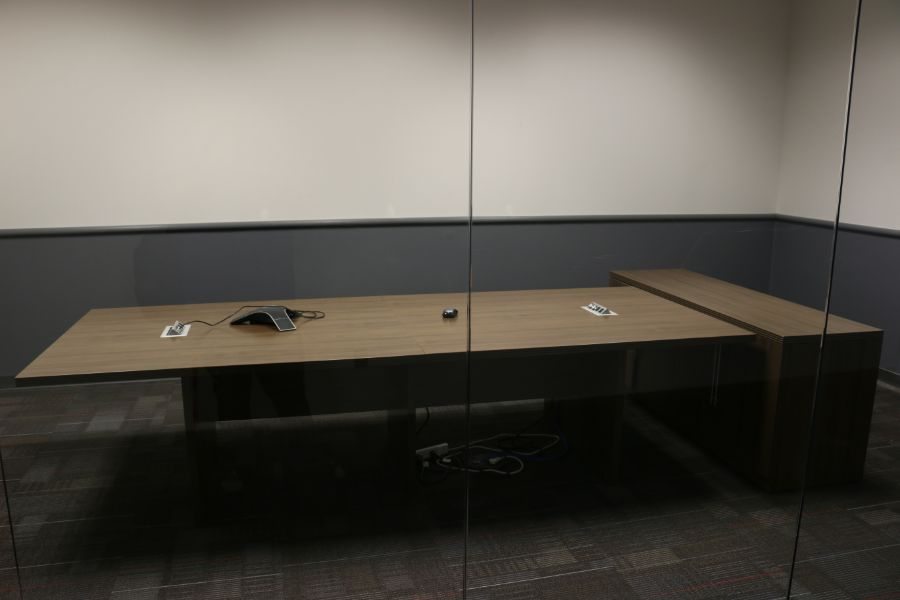 Lot 881 - Room Content, Conference Table and Cabinet