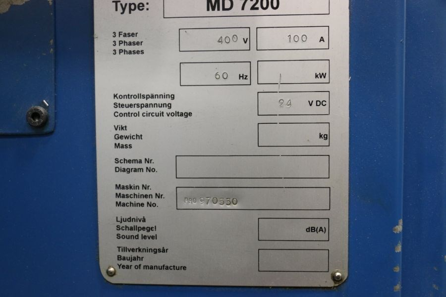 Modig MD7200, Fanuc 16M Control, 20K RPM, 24 ATC, CT40, s/n 970330, New 1997 *Parts Only Machine* - Image 7 of 7