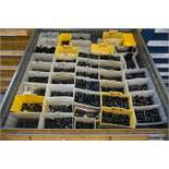 Stanley Vidmar 9 Drawer Cabinet with Content, Assorted Hardware, Reamers, Pins, and O Rings