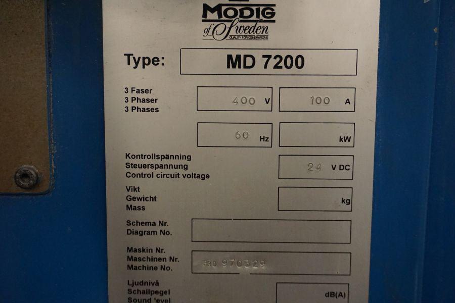 Modig MD7200, Fanuc 16M, 20K RPM, 24 ATC, CT40, s/n 970329, New 1997 - Image 16 of 16