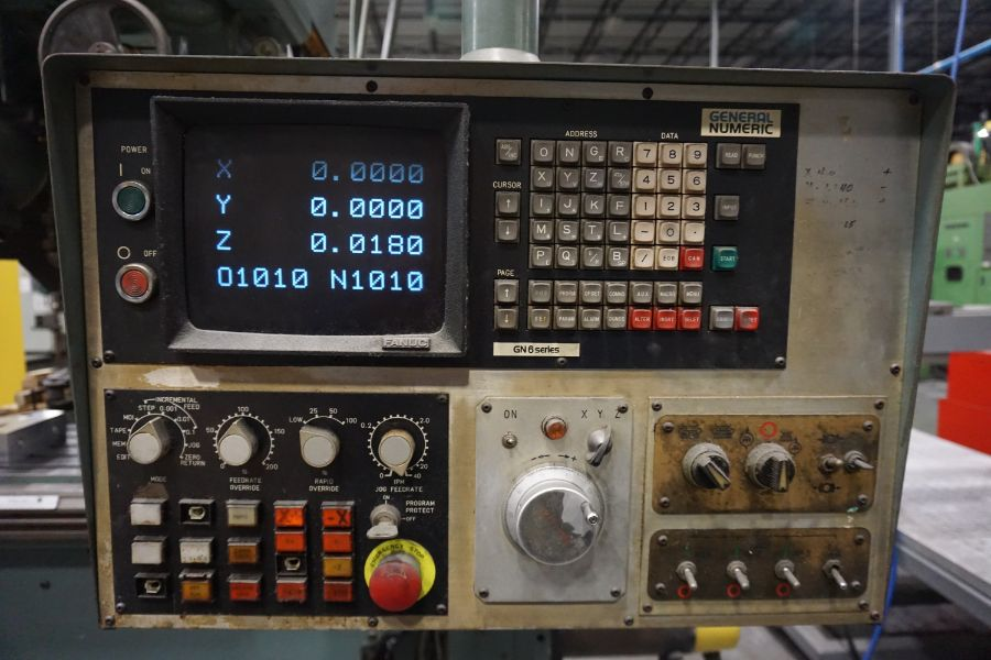 """Makino Three D, 3 Spindle VMC, Fanuc GN6 Series Control, 20"""" x 72"""" Table - Image 9 of 11"""