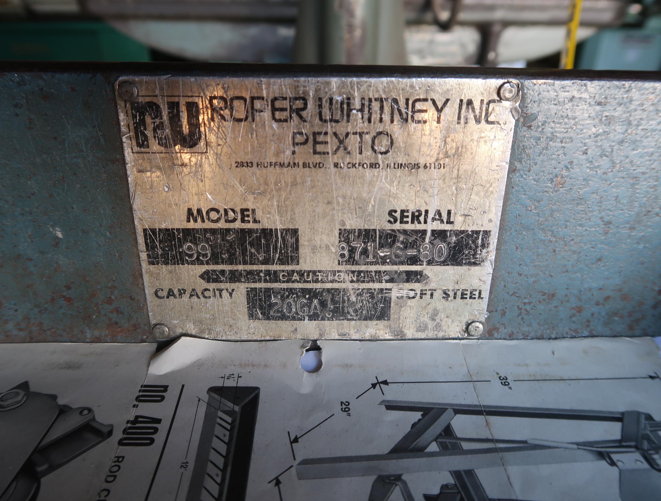 ROPER WHITNEY INC PEXTO NO. 400 ROD CUTTER 99 BRAKE MDL. 99 SN. 871-6-80 - Image 2 of 2