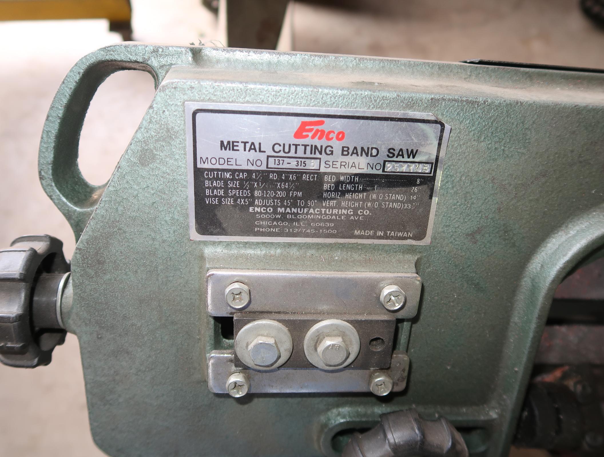 "ENCO 5"" X 7"" METAL CUTTING BAND SAW SN. 257743 W/ ROLLER - Image 2 of 2"