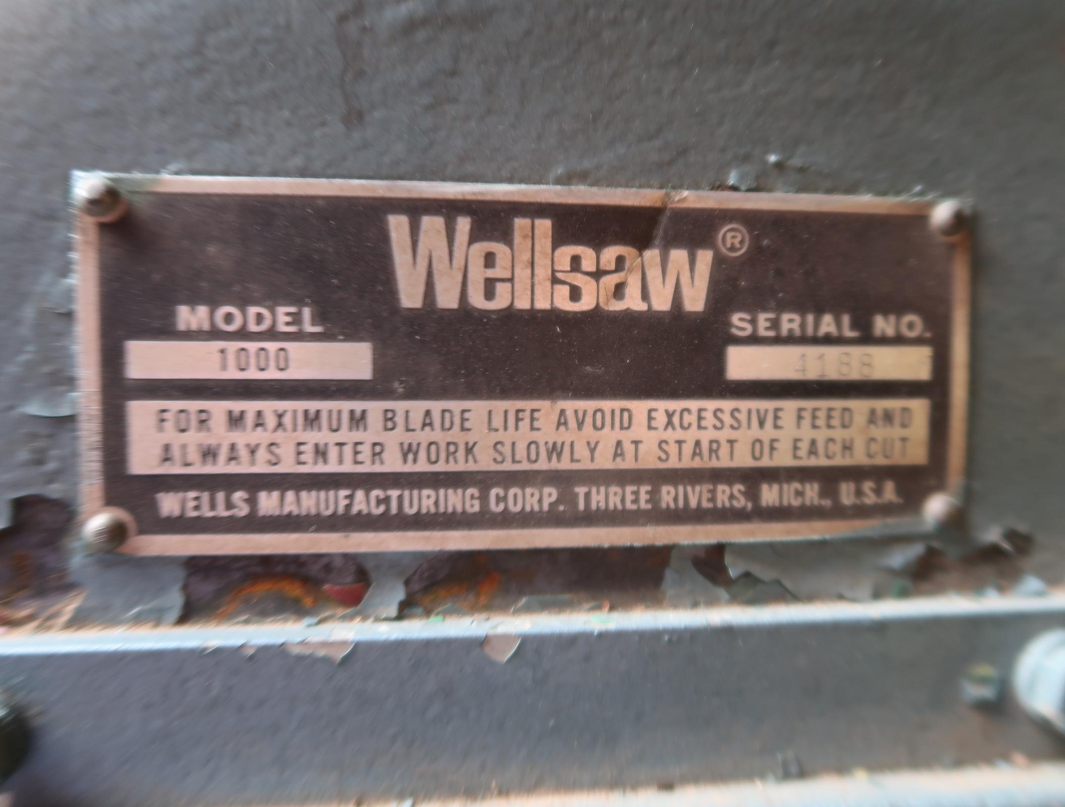 "WELLSAW MDL 1000, 10"" X 16"" HORIZONTAL BAND SAW SN. 4188 - Image 2 of 2"