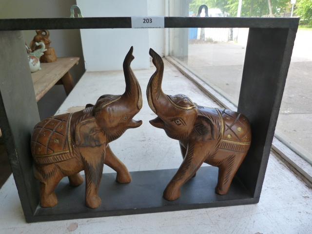 Lot 203 - Two Indian Elephants in Open Wood Frame