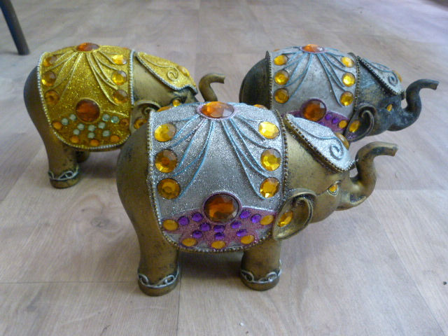 Lot 220 - Three Bejeweled Indian Elephants