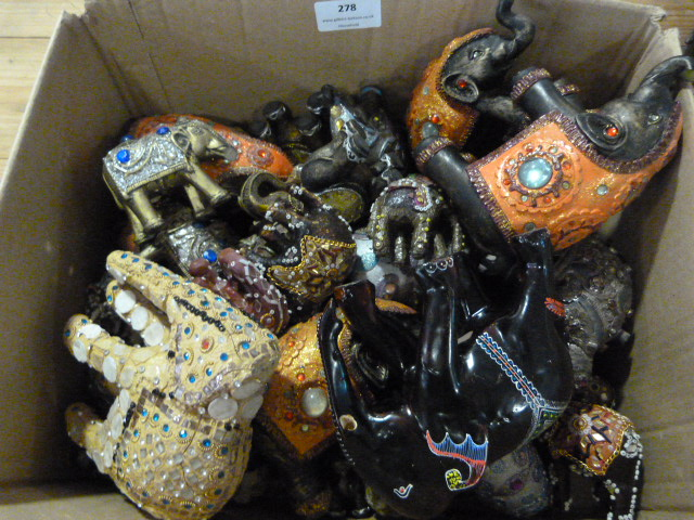 Lot 278 - Box of Bejeweled Indian Elephants
