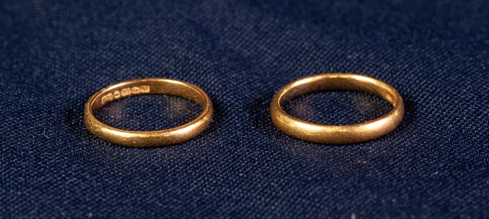 Lot 119 - TWO 22ct GOLD THIN WEDDING RINGS, 5 gms all in (2)