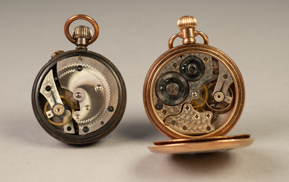 Lot 34 - ELIDA WATCH CO., SWISS ROLLED GOLD OPEN FACED POCKET WATCH, with keyless 15 jewels movement, white