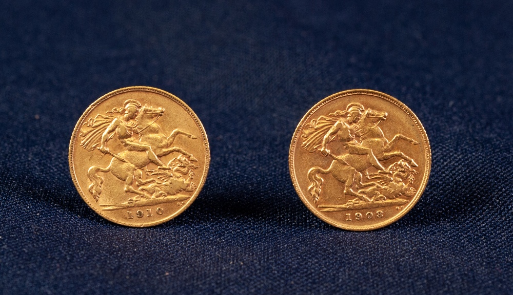 Lot 43 - TWO EDWARD VII (1908, 1910) GOLD HALF-SOVEREIGNS (VF) (2)