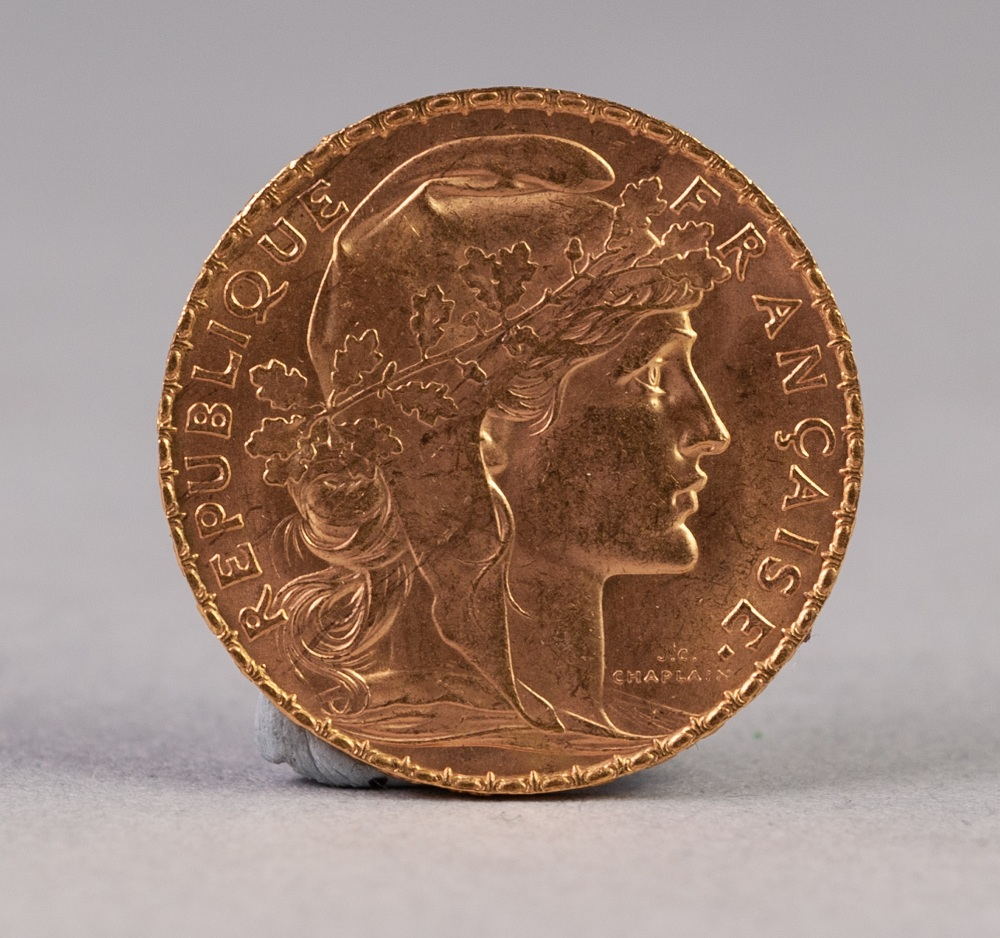 Lot 44 - FRENCH 20 FRANC GOLD COIN, 1913 (extra fine), 6.4 gms