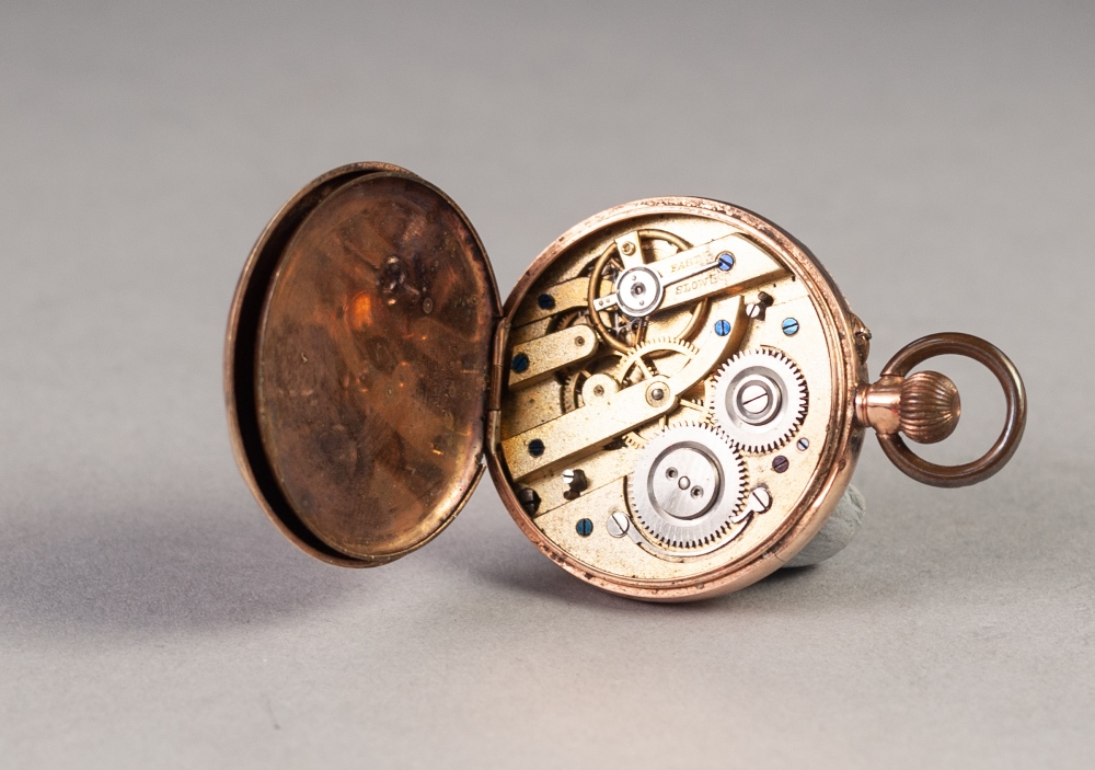 Lot 37 - LADY'S 9ct GOLD OPEN FACED POCKET WATCH, with keyless movement, engraved gold Roman dial, floral