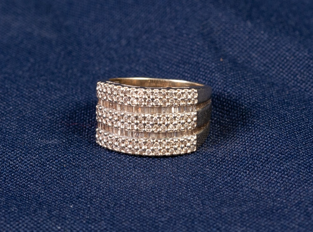 Lot 178 - 9ct GOLD AND DIAMOND HALF HOOP RING, in the form of three conjoined rings, each with a two row