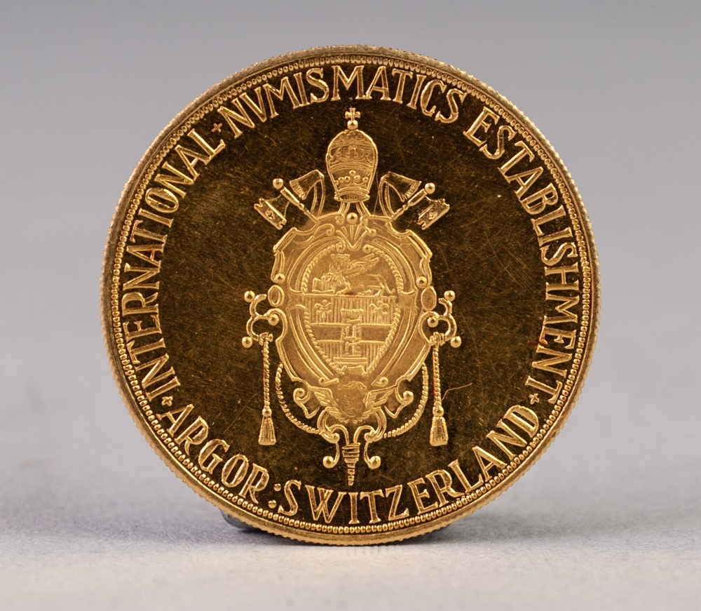 Lot 45 - SWISS COMMEMORATIVE GOLD COIN 'JOHANNES XXIII PONTIFEX MAXIMUS', 25mm diameter, 7.1gms (